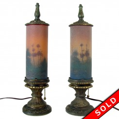 Pair of reverse-painted frosted glass cylinder mantle lamps