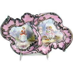 Hand-Painted Porcelain Dresser Tray with Sterling Overlay - 1870's