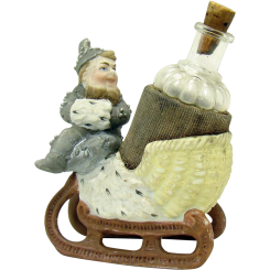 German Bisque Perfume Holder with Elf in Sleigh