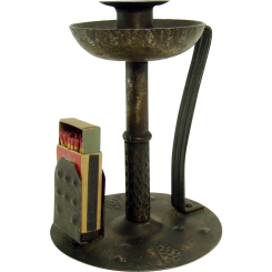 German Arts & Crafts Hand-made Candle Stand and Match Holder - 1910