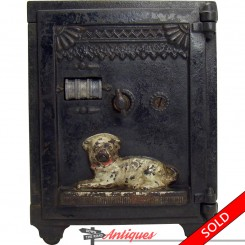 Cast iron mechanical combination safe bank with guard dogs and men in armor