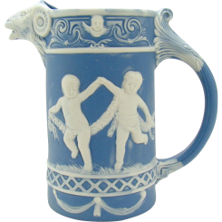 Signed Schafer & Vater German Jasperware Pitcher with Ram Head and Children