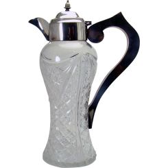 Cut Glass Claret Decanter With Silver Plated Handle - 1920's