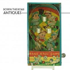 Tin Pinball Machine Baseball Dexterity Game - 1920's