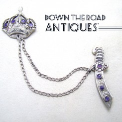 Taxco Sterling Brooch with Crown & Sword, Amethyst
