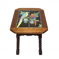 Arts & Crafts Walnut Table with Catalina Art Tile Parrot Inlay - c.1920