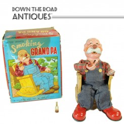 Smoking Grandpa Battery Operated Toy - Mint in Box - 1950's