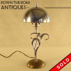 Ronson Art Metal Works chrome dancer electric table lamp