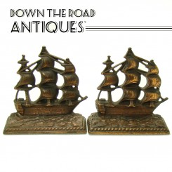 "Cast Iron Sailing Ship Bookends - ""A Galleon in the Time of Elizabeth"" - 1924"