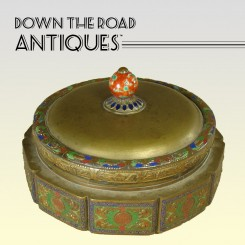 Brass and Enamel Chinese Covered Candy Dish with Porcelain Finial - 1910