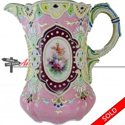 Moriage Nippon porcelain porcelain water pitcher with hand-painted floral decoration