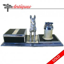 Ronson desktop German Shepard cigarette holder and lighter combination