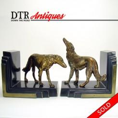 Art Deco Ronson bookends with full-figural bronze Borzoi dogs