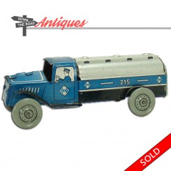Lithographed tin penny toy truck with driver and blue and silver paint