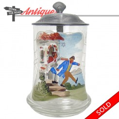 Hand-painted German glass stein with pewter lid and Jewish depiction