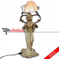 Art Nouveau figural electric lamp with beautiful woman vase and conch shell shade