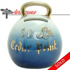 German porcelain kettlebell weight bank prize from Cedar Point amusement park