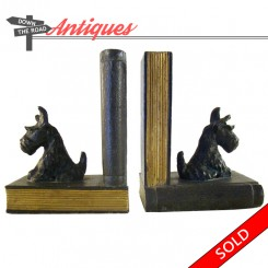 Ronson Metal Works Scottish Terrier dog bookends, 1920's