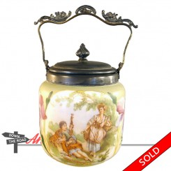 Hand-painted opalene glass biscuit jar depicting a courting couple, with silver plated mounts.