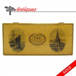 Mauchlineware Clarks O.N.T. sewing spool box with depictions of Scott and Burns Monuments