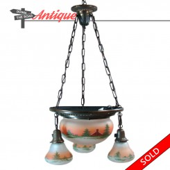 Antique obverse-painted hanging chandelier with hand-painted country scene