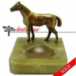 Green onyx dresser receiver with gold horse mount, circa 1910