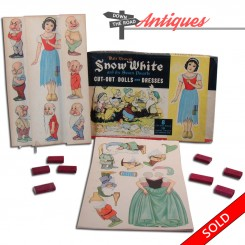 Disney Snow White and Seven Dwarfs cut-out game dolls with wooden blocks