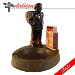Hubley black memorabilia cotton picker match holder and ashtray