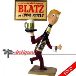 Vintage advertising bar decoration Blatz Man beer sign by Plasto, Chicago
