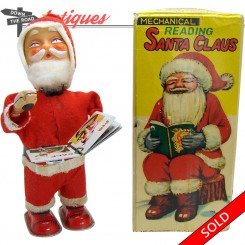 Alps Santa Claus Christmas mechanical book reading wind-up toy