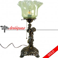 Victorian portable gas lamp with putto and opalescent Vaseline glass shade