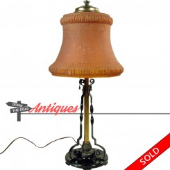 Pittsburgh Lamp Co. electric table lamp with burnt orange stretch glass shade