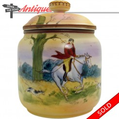 Hand-painted Nippon porcelain humidor with hunting scene depicting horses and dogs
