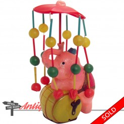Celluloid elephant standing on barrel carousel wind-up toy made in Occupied Japan