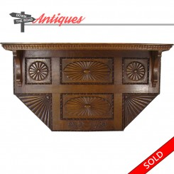 Large carved oak shelving unit with quartersawn wood construction, c. 1880's