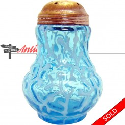 Opalescent blue glass sugar shaker with metal lid and seaweed pattern, c. 1890's