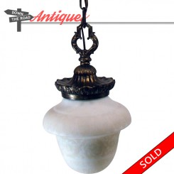 Satin glass acid cut-back electric hanging pendant lamp from 1920's