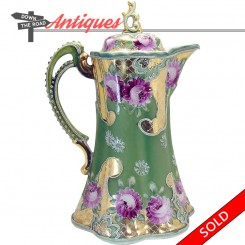 Hand-painted Nippon Moriage porcelain chocolate pot with floral design and handle