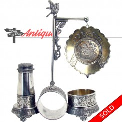Victorian silver plated napkin ring and condiment holder with bird finial and marsh engraving