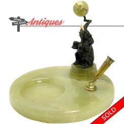 French bronze and onyx dresser tray and pen holder with elephant balancing ball