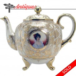 Rare hand-painted Nippon porcelain teapot with lady portrait and gold details