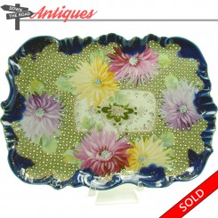 Hand-painted Nippon porcelain dresser tray with cobalt blue background and floral pattern