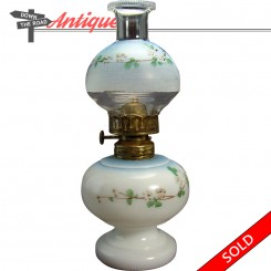 Miniature hand-painted kerosene oil lamp with hand-painted floral shade