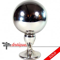 Victorian mercury glass gazing ball on polished glass stand with mirror finish