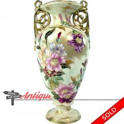 Large signed Royal Bonn porcelain floral vase with two handles and gold details