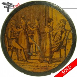 German paper mache snuff box with barber scene-- women shaving their husbands around the ears