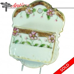 Hand-painted Nippon porcelain match holder with two compartments and floral design