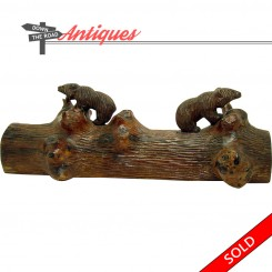 Hand carved Black Forest walnut sculpture of two bears on a tree