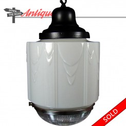 Art Deco hanging pendant lamp with white shade and reflective glass bottom