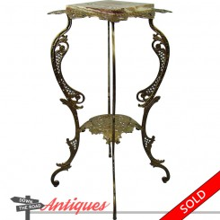 Victorian cast iron fern stand with reticulated metalwork and marble insert